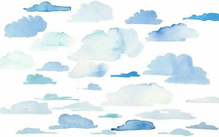 watercolor clouds in different shades of blue drawn on white background cute wallpapers for computer