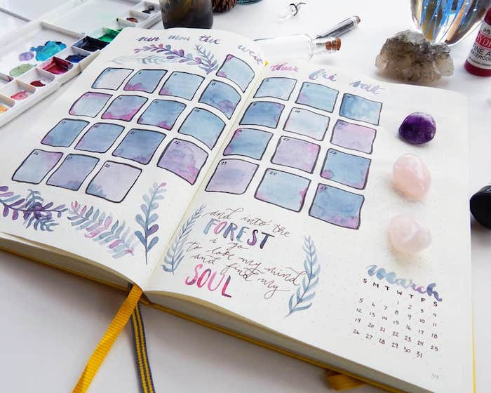 weekly spread made as calendar with blue purple watercolor on white notebook bullet journal page ideas