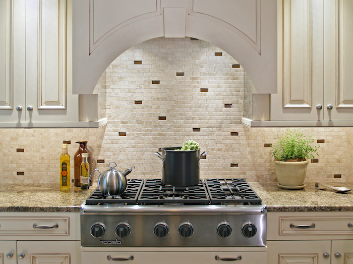 white cabinets granite countertop how to tile a backsplash small stone tiles on the wall in white beige and brown