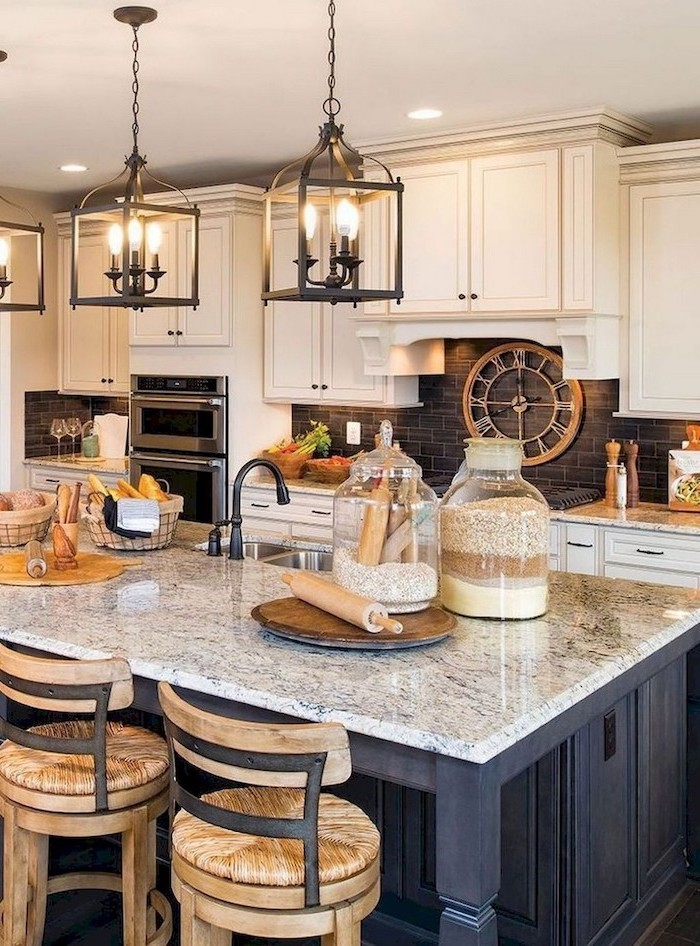 white cabinets granite countertops farmhouse kitchen decor black wooden kitchen island granite countertop black tiles backsplash