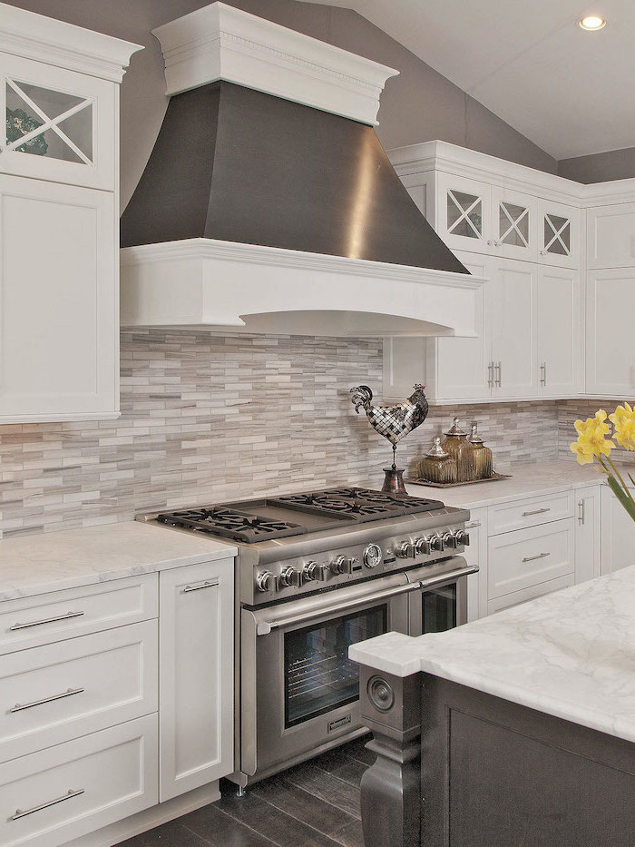 white cabinets wooden kitchen island with marble countertops backsplash tile ideas in gray and white