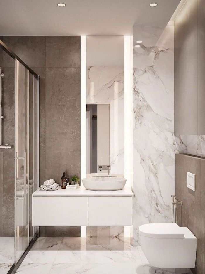 white floating cabinet with large mirror above it with led lights bathroom picture ideas marble tiles on floor wall granite tiles in the shower cabin
