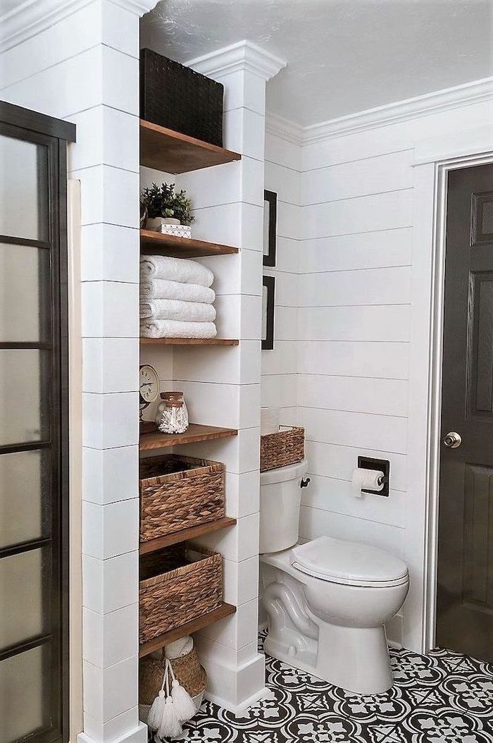 white tiles on the walls bathroom decor ideas black and white patterned tiles on the floor open shelving for towels
