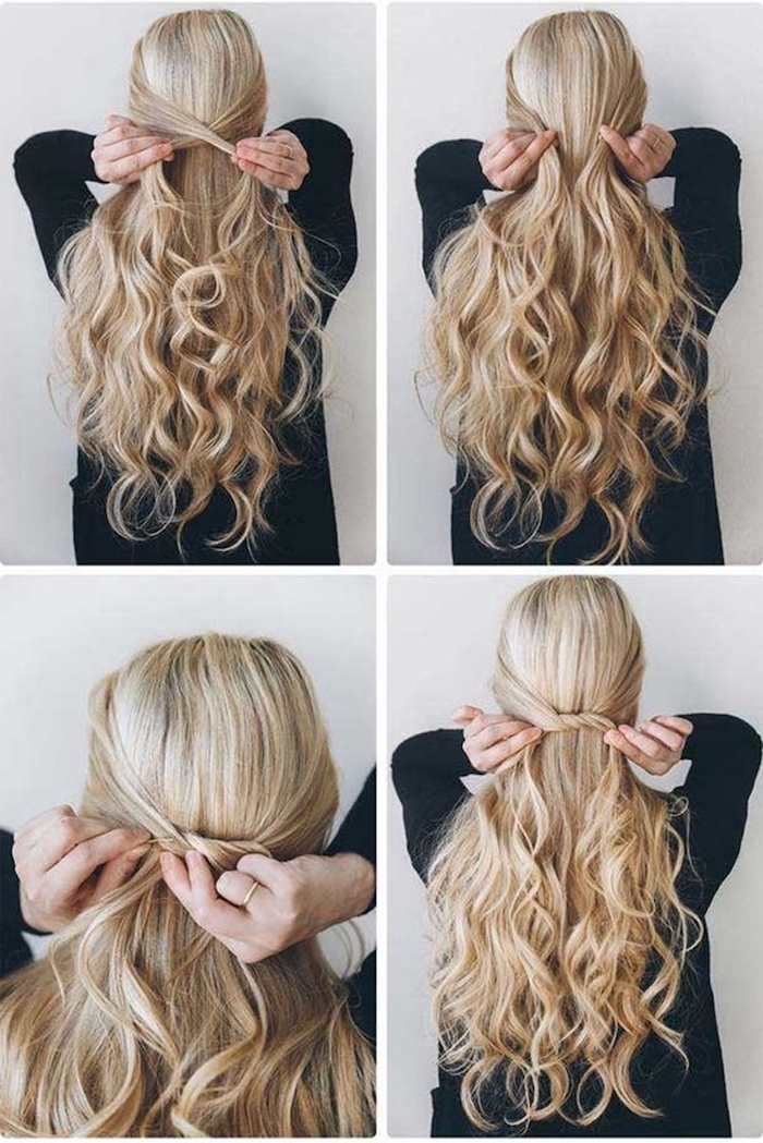 woman with long wavy blonde hair hairstyles for teenage girls photo collage of step by step diy tutorial hair half up