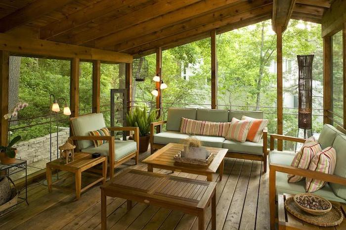 wooden ceiling and floor how to build a screened in porch wooden living room furniture set with green cushions colorful throw pillows
