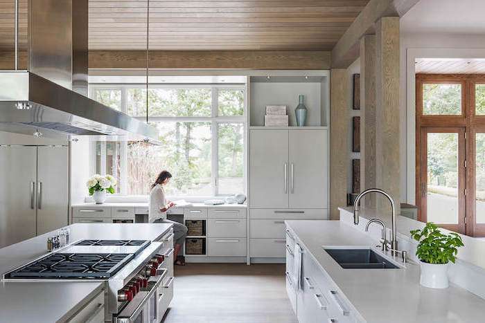 wooden ceiling white cabinets with white countertops farmhouse kitchen decor ideas large kitchen with wooden floor