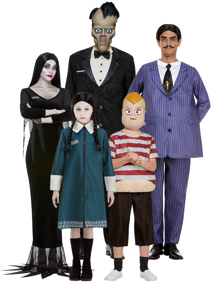 addams family costumes halloween costumes for 3 people photographed on white background