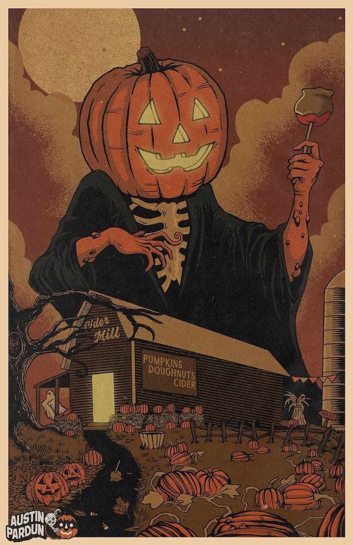 austin pardun artwork scary halloween background spooky image of factory with pumpkin patch skeleton with jack o lantern head