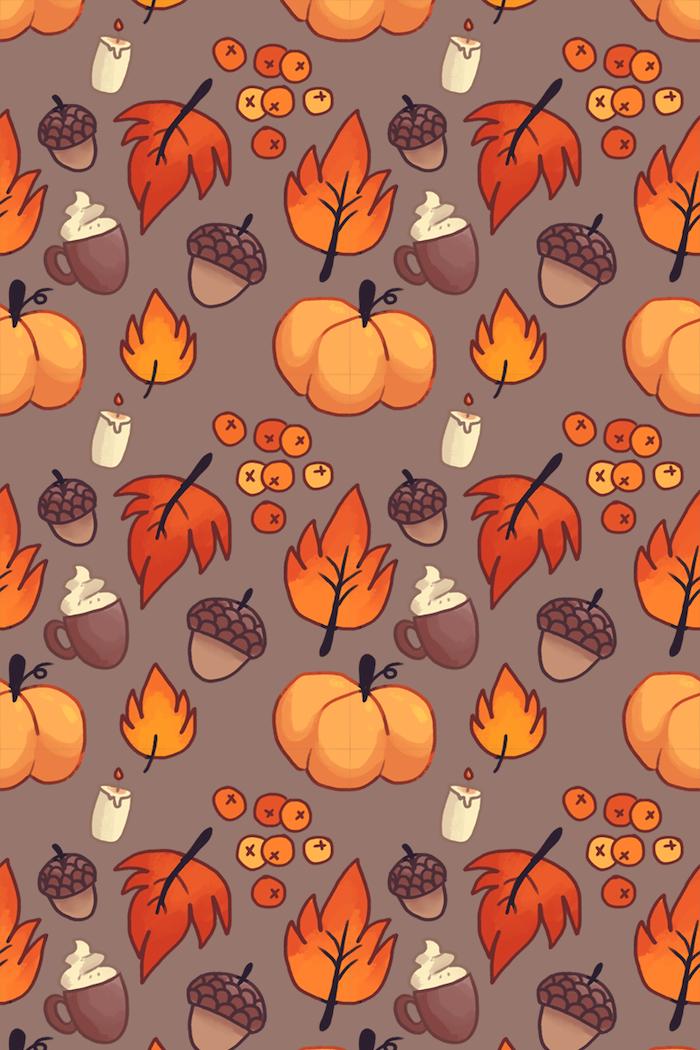 autumn desktop wallpaper gray background drawings of pumpkins fall leaves candles berries cappucinos