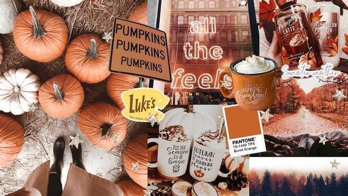autumn wallpaper photo collage with photos of pumpkins lattes trees with orange leaves all the feels neon sign