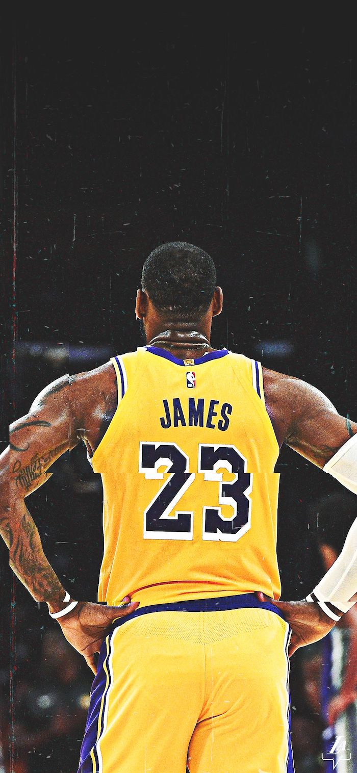 back of lebron on the court wearing lakers uniform best basketball wallpapers white arm sleeve