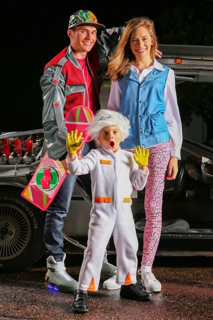 back to the future inspired family halloween costumes child dressed as doc mom and dad as lorraine marty mcfly