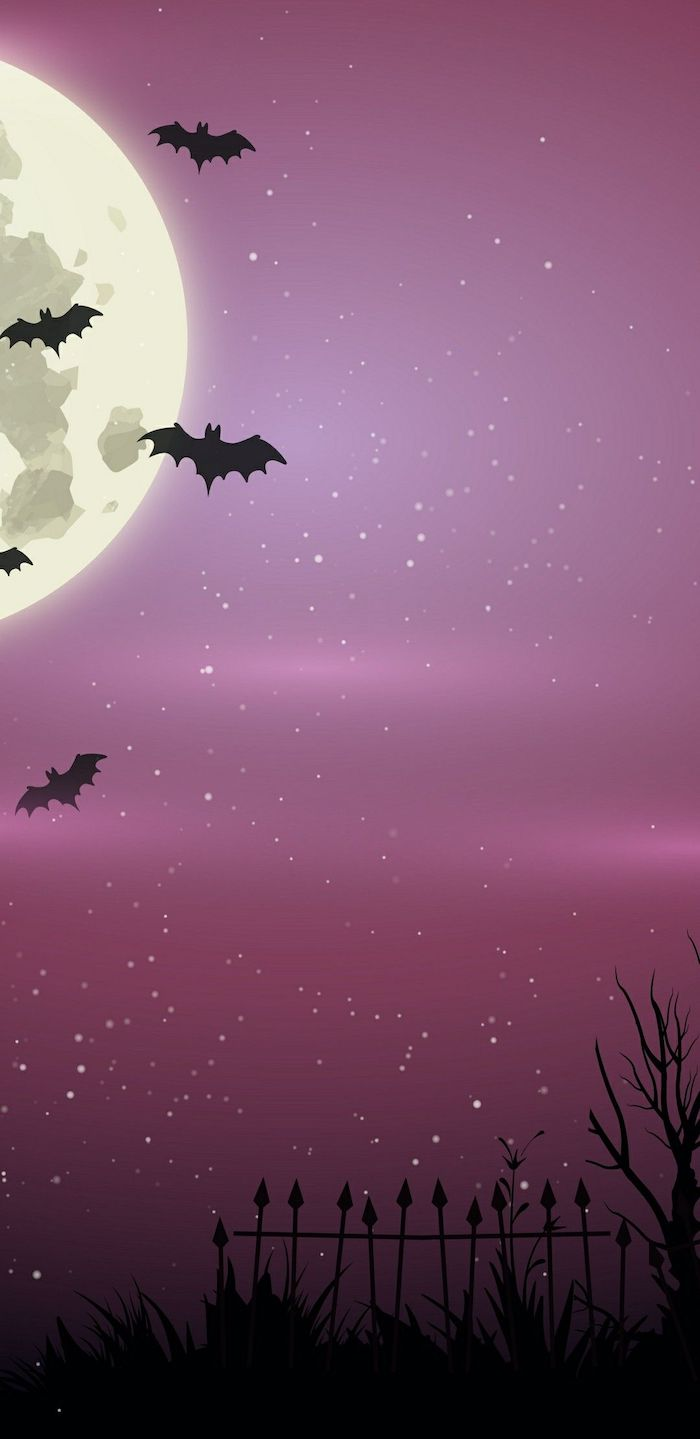 bats in the pink purple sky with full moon and stars halloween phone wallpaper digital drawing