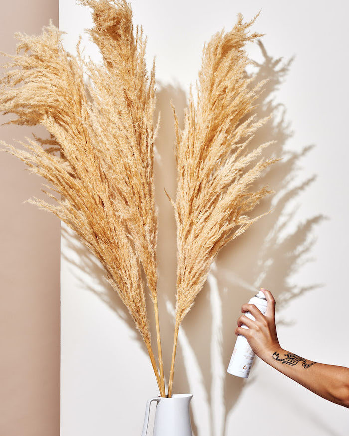 beige and white wall in the background pampas grass being spray painted in gold placed in white vase