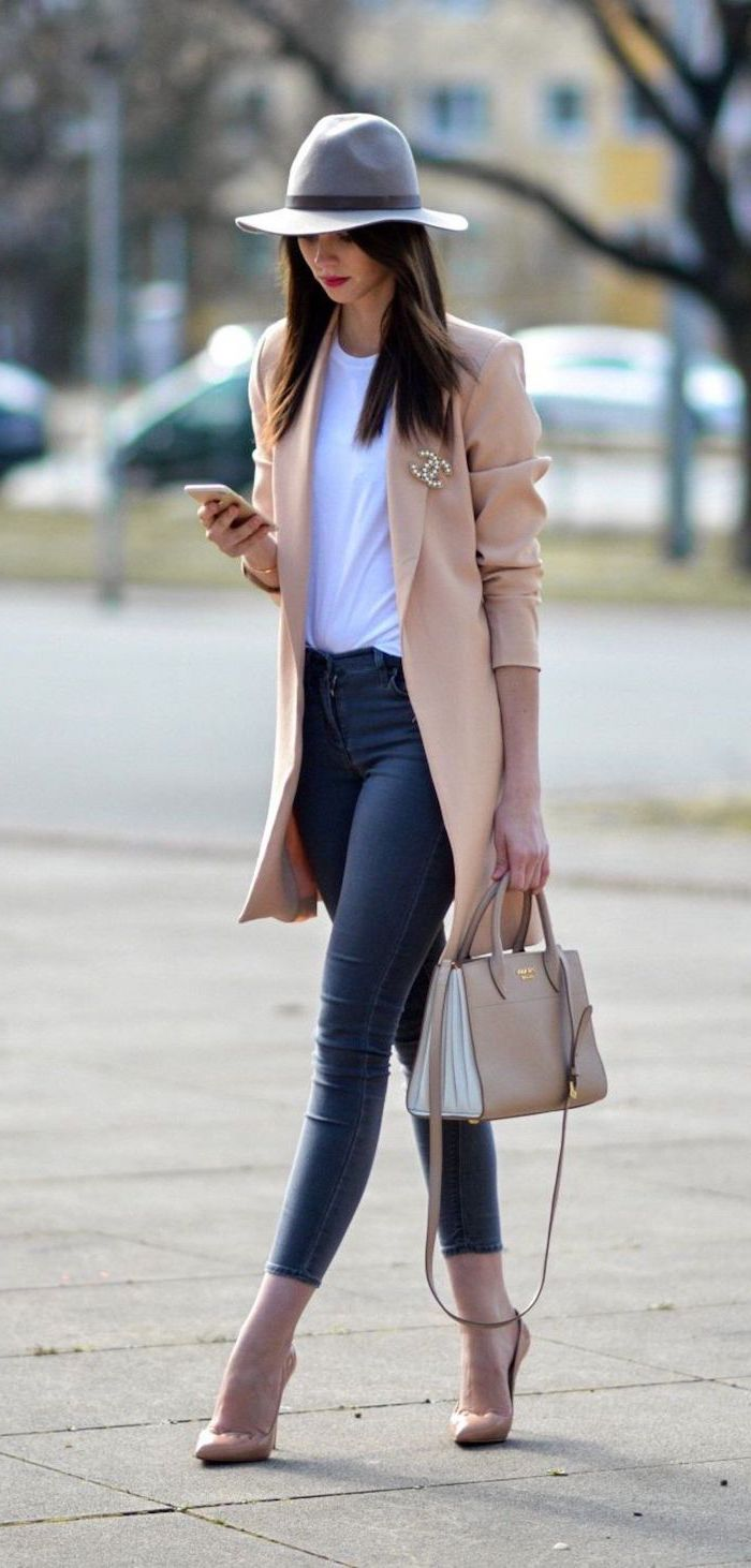 beige blazer white t shirt jeans worn by woman with long black hair fall dresses for women walking down the street