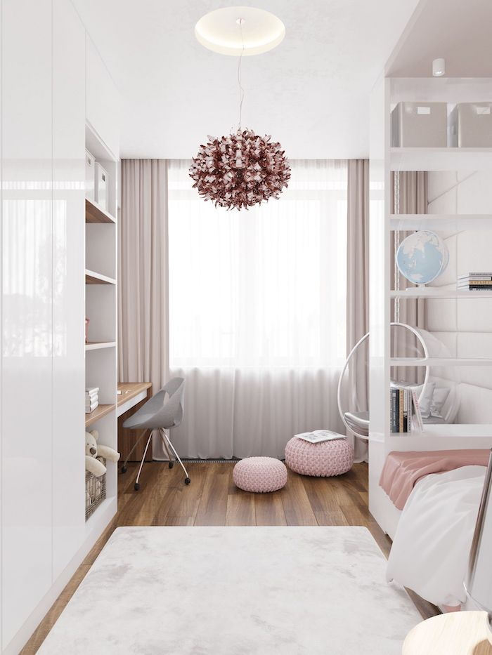 beige curtains white bookshelves swing hanging from the ceiling teen girl room decor wooden floor with white carpet