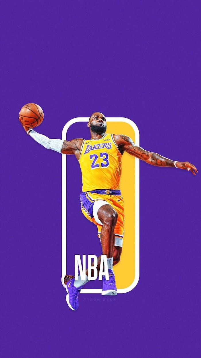 best basketball wallpapers lebron james wearing lakers uniform jumping in the air about to dunk the ball nba logo purple background