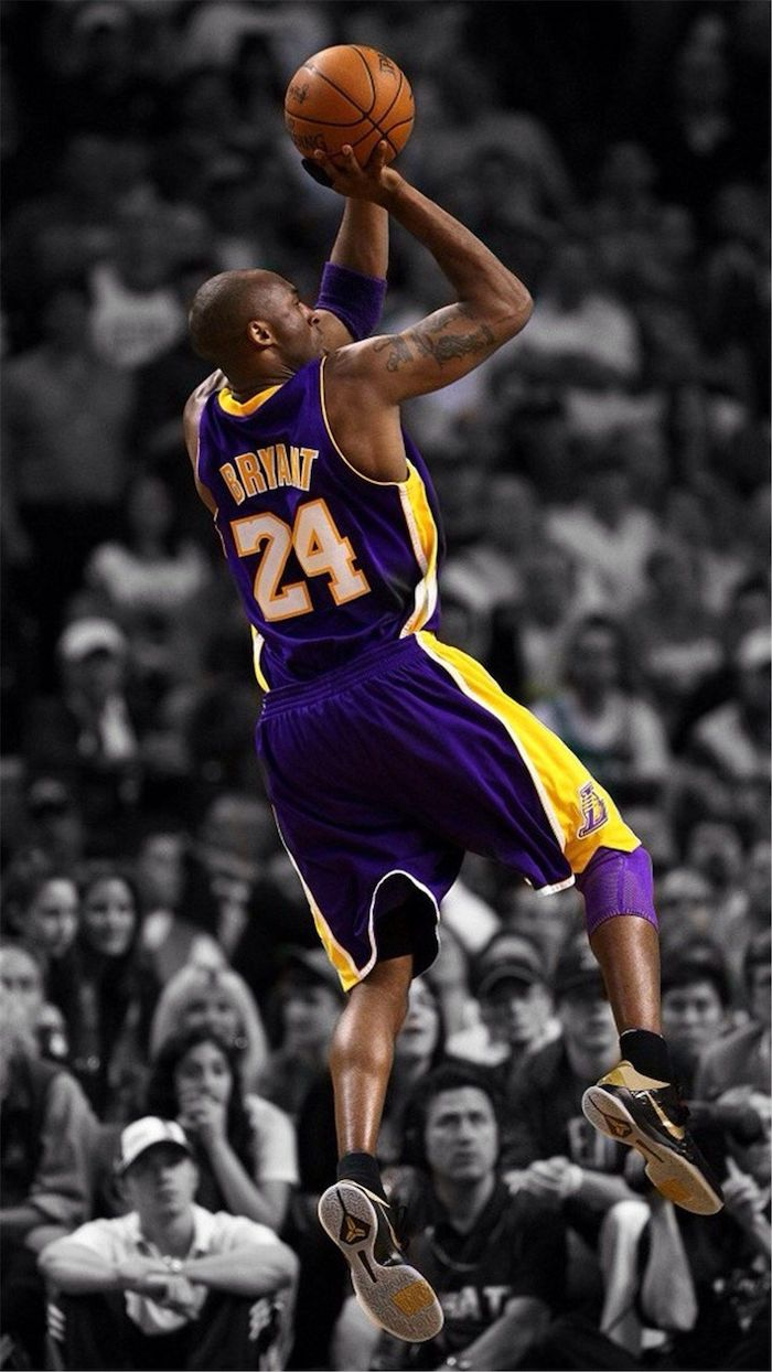 black and white background crowd kobe and gigi wallpaper colored photo of kobe wearing purple lakers uniform in the air shooting the basketball