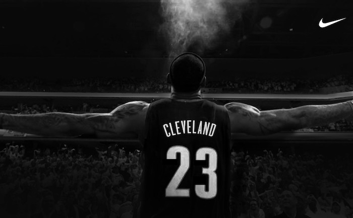 black and white photo from the back lebron james wallpaper wearing cleveland uniform nike logo in the top corner