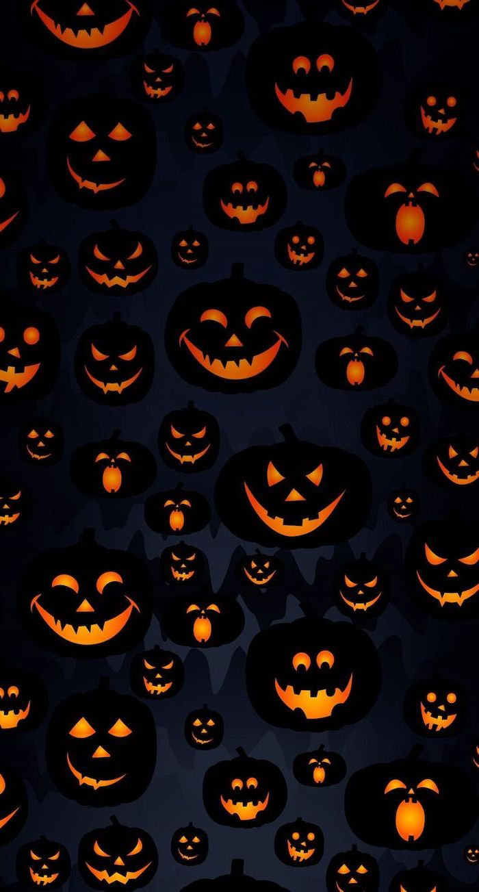 black background halloween desktop backgrounds drawings of lots of jack o lanterns with different expressions