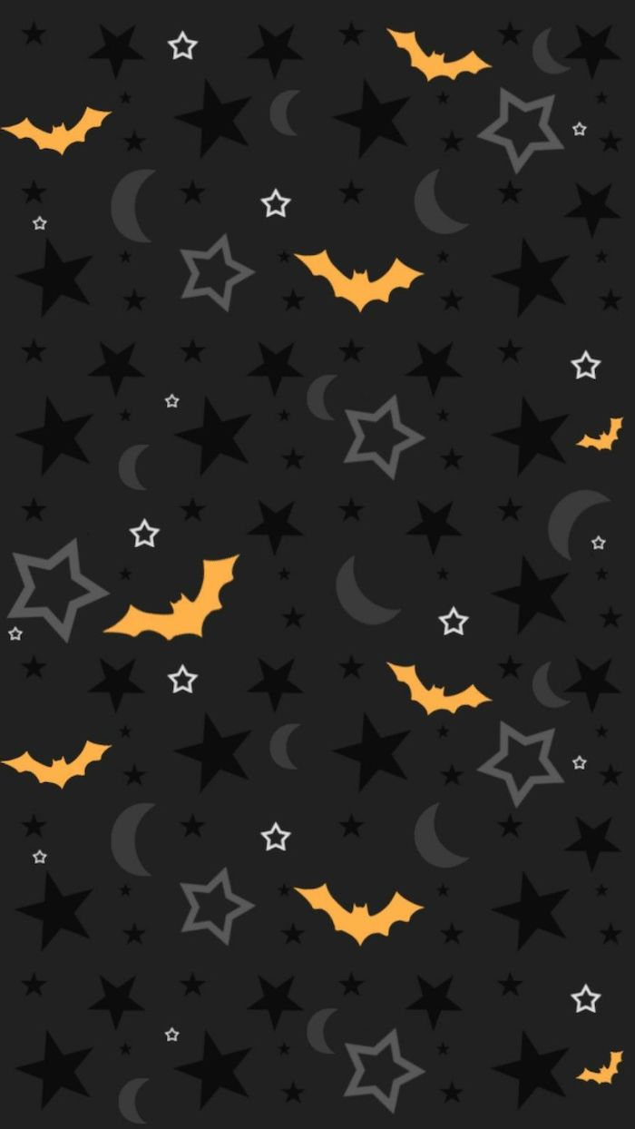 black background halloween phone wallpaper drawings of orange bats black stars grey crescent moons