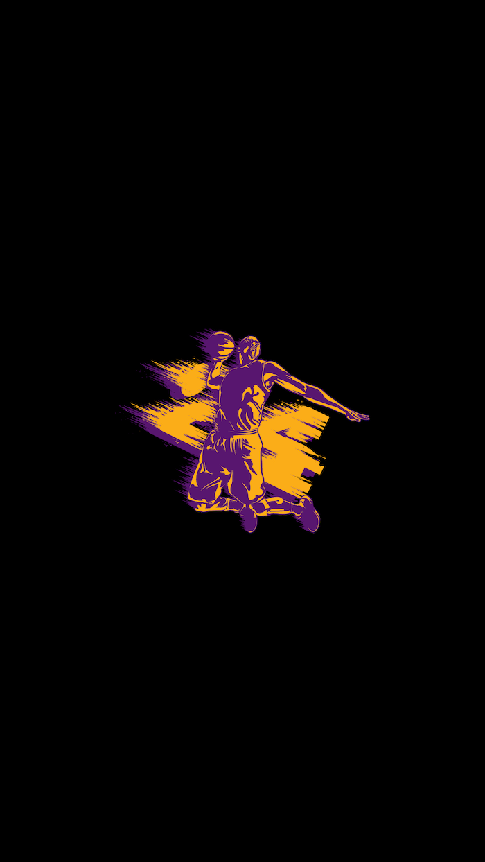 black background iphone kobe bryant wallpaper kobe jumping with the basketball drawing in the middle with number twenty four in purple and yellow