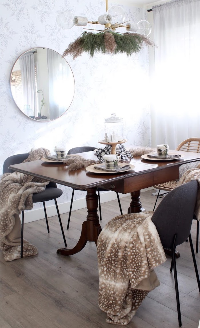 black chairs with blankets wooden table set for four people where to buy pampas grass on the chandelier