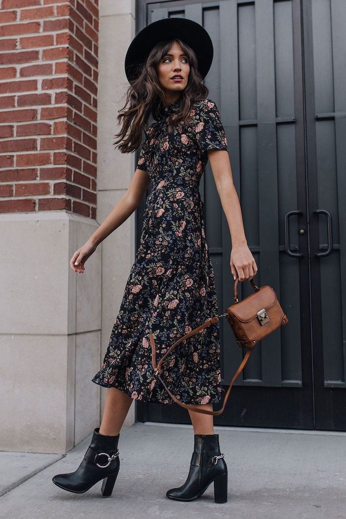 black leather boots midi black dress with pink flowers cute outfit ideas woman with long wavy black hair