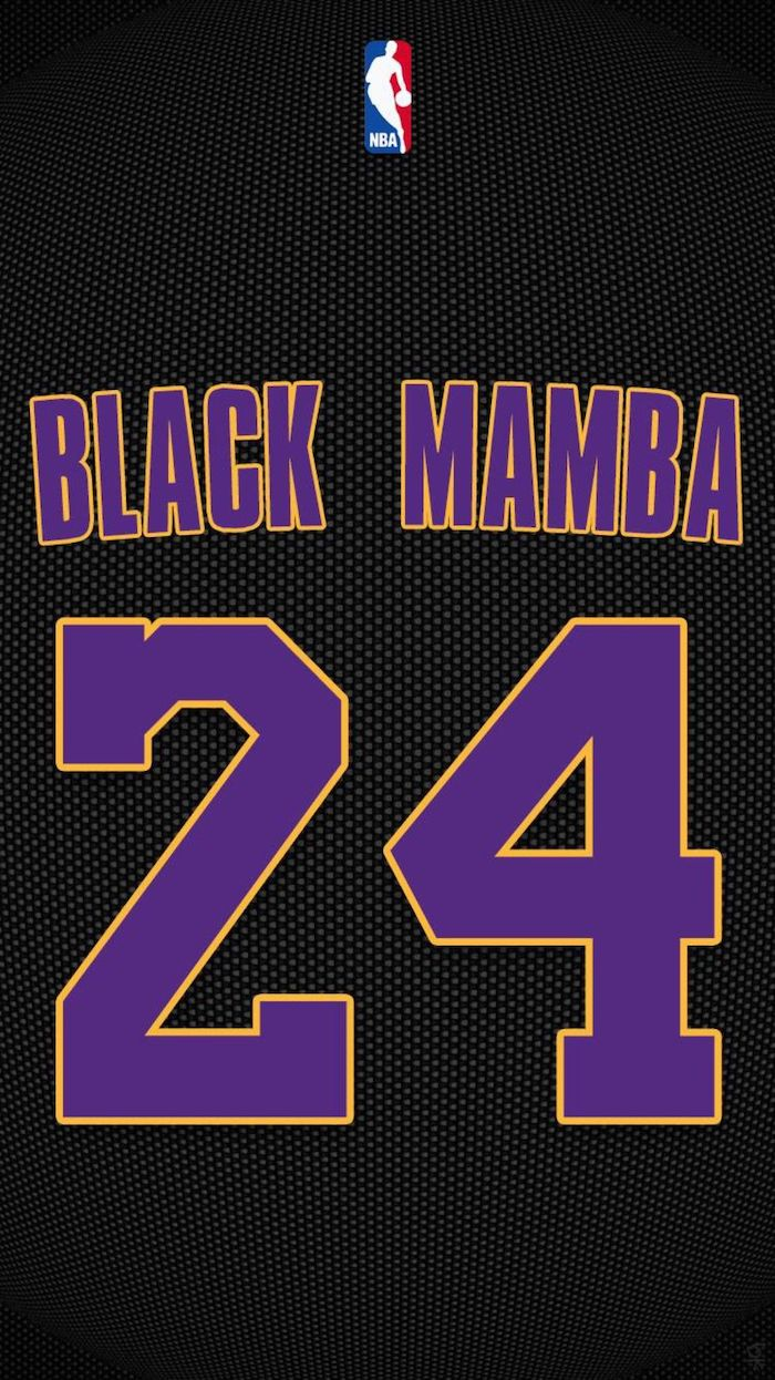 black mamba number twenty four written with purple letters with yellow outlines on black background kobe bryant wallpaper iphone nba logo on top