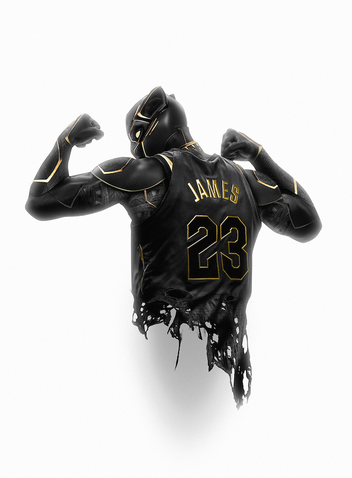 black panther flexing photographed from the back wearing black and gold lebron james jersey cool nba wallpapers white background