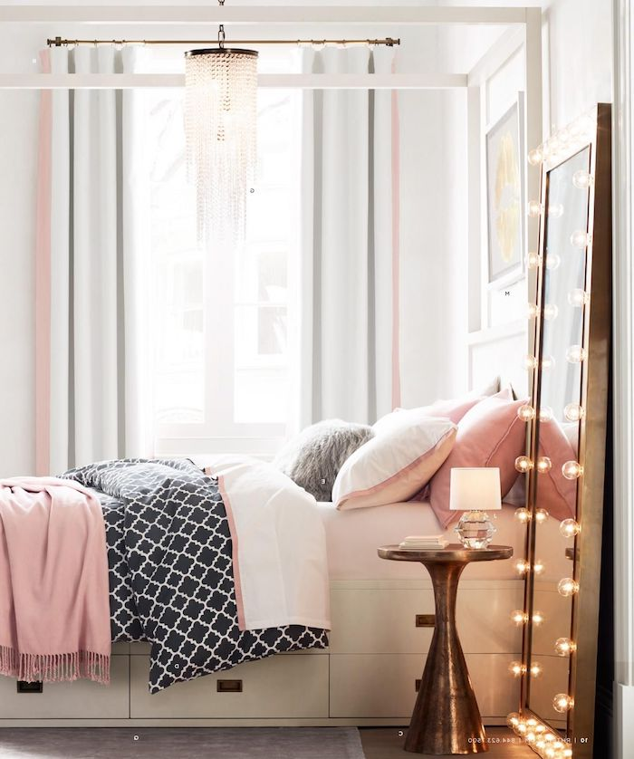 black white and pink blankets and throw pillows on bed with drawers cute room ideas for a teenage girl tall mirror with lights on the side
