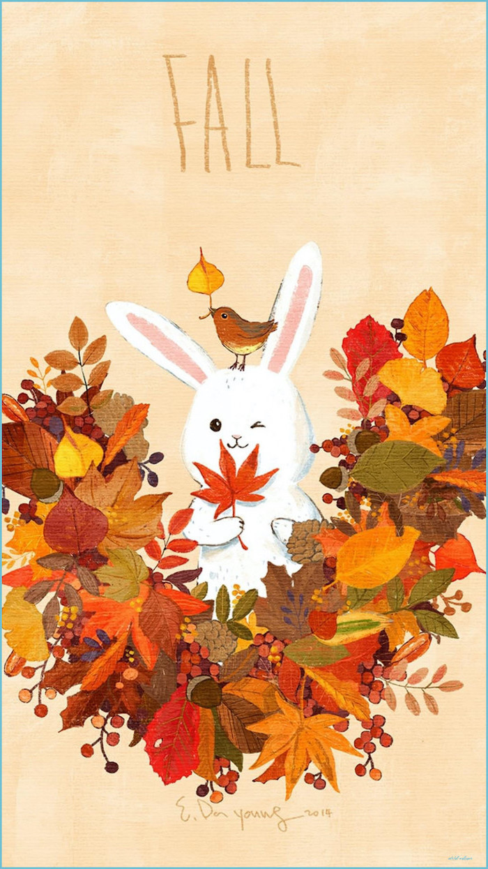bunny drawing surrounded by orange green red yellow brown leaves pinecones autumn wallpaper iphone fall written above drawing