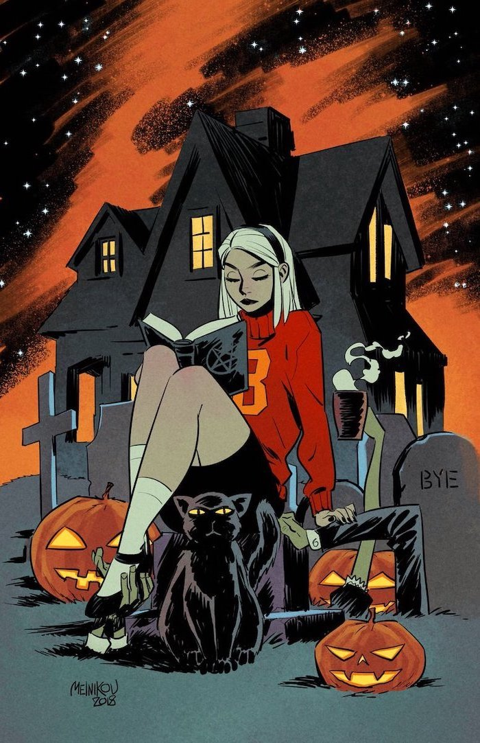 chilling adventures of sabrina the teenage witch scary halloween background drawing of spooky house girl sitting in the graveyard with black cat