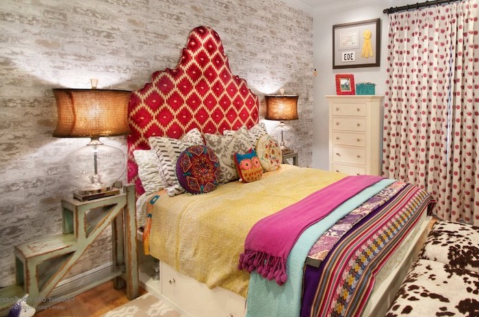 colorful headboard throw pillows and blankets on double bed room decor ideas for girls vintage night stand brick accent wall behind the bed