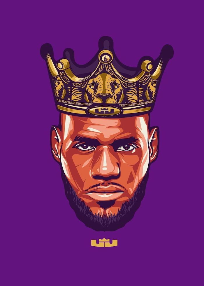cool nba wallpapers drawing of lebron james wearing a crown his logo underneath purple background