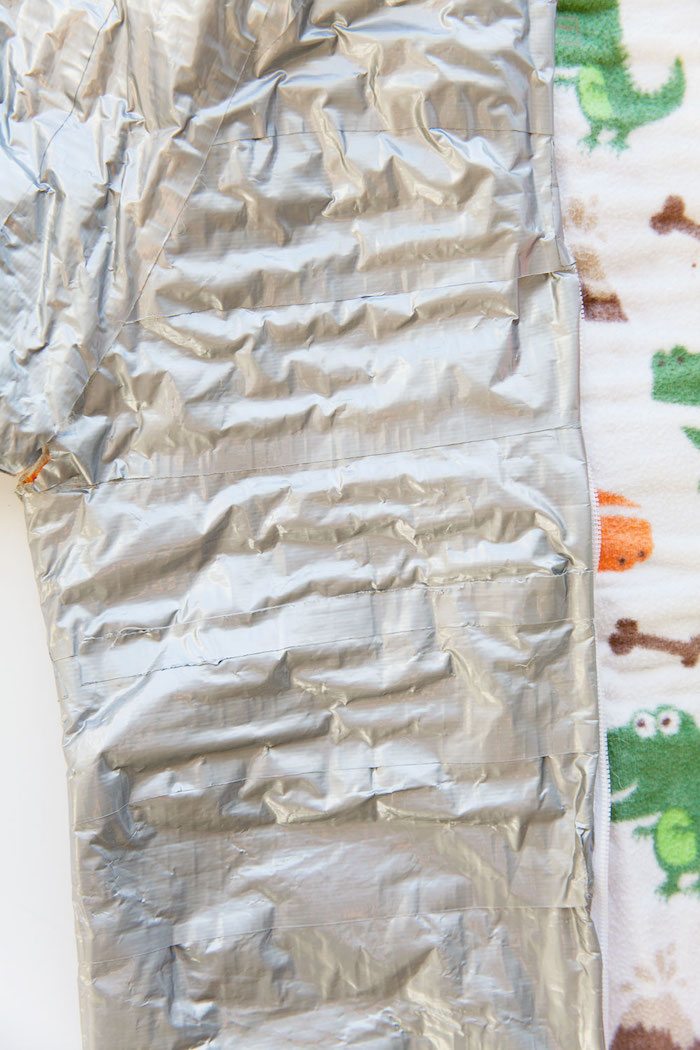 creative halloween costumes close up of the onesie covered with duct tape step by step diy tutorial for space costumes