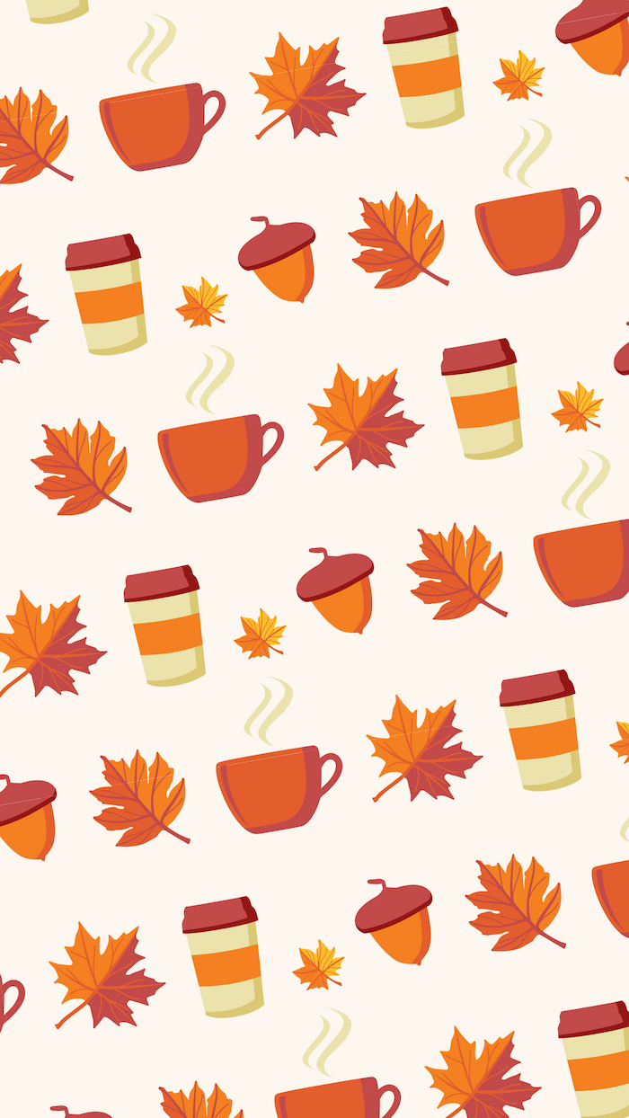 cute fall wallpaper iphone white background with drawings of orange leaves teas and coffee mugs