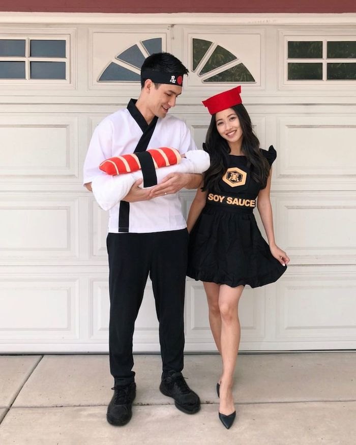 dad dressed as cook mom as soy sauce baby as sushi diy family halloween costumes step by step tutorial