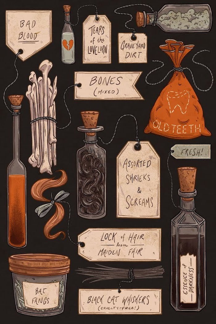 dark background halloween background images drawings of different ingredients to make potions in different bags bottles