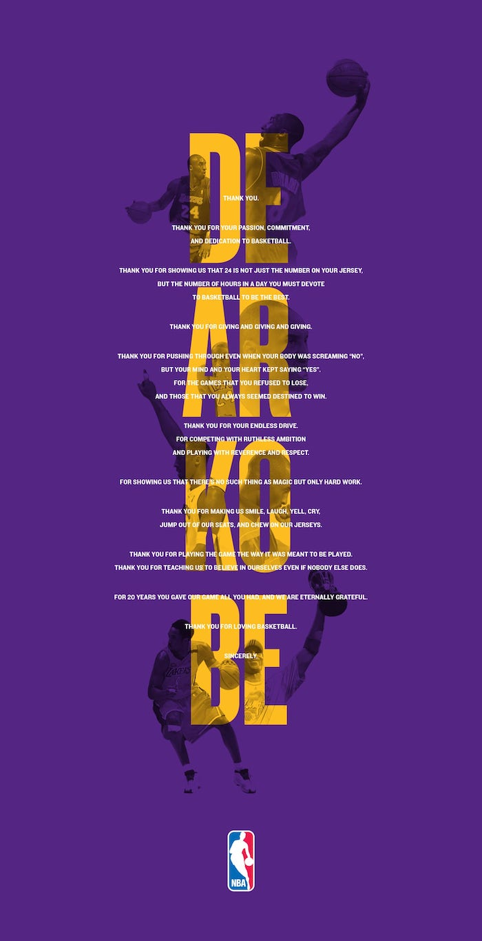 dear kobe farewell letter from the nba kobe bryant wallpaper hd background with photos of kobe in purple