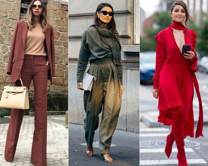 different outfits worn by three women walking down the sidewalk fall fashion trends three side by side photos