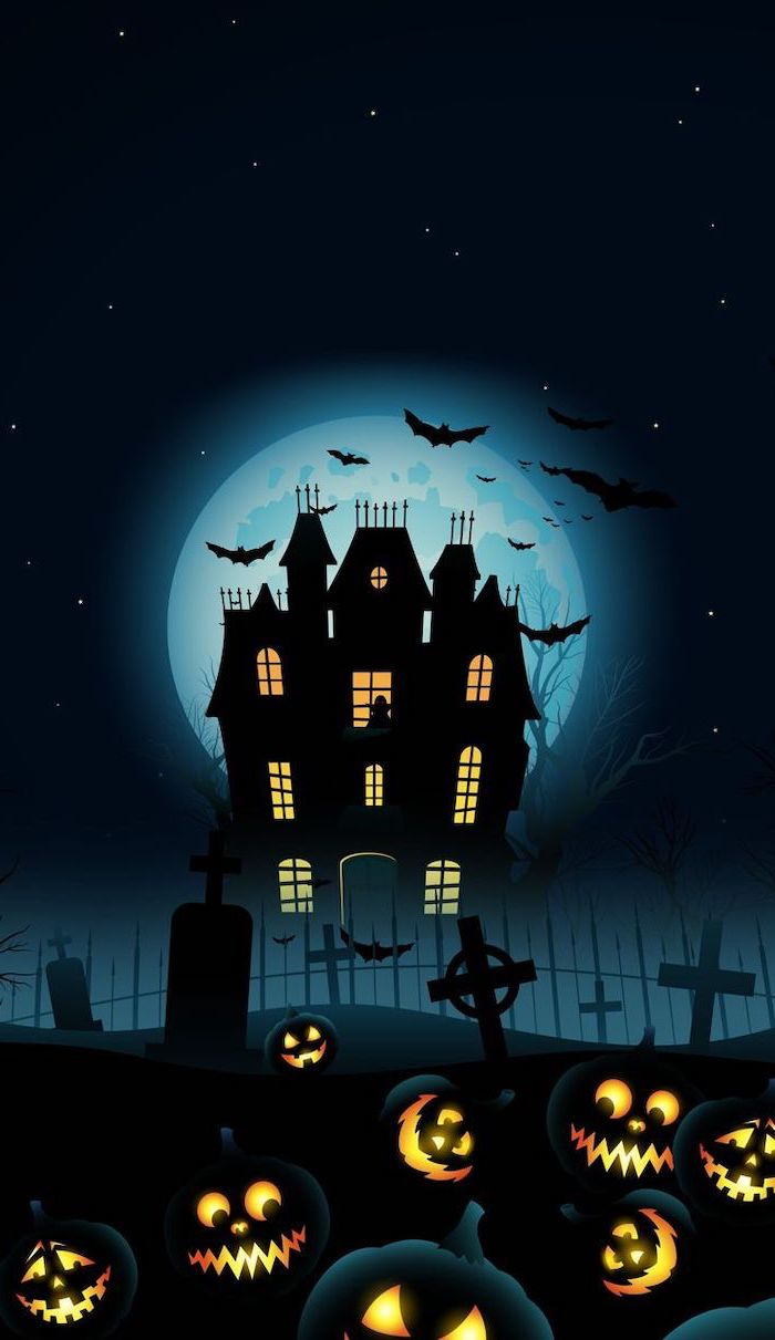 digital drawing of large spooky house with full moon behind it halloween phone wallpaper graveyard with jack o lanterns at the front
