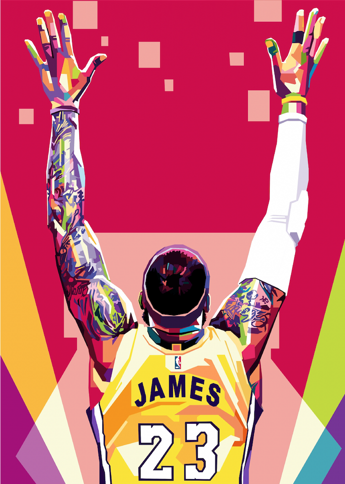 digital drawing of lebron james wearing lakers uniform hands up in the air lebron james background red background