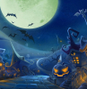 digital drawing of paved road with spooky houses on both sides halloween background full moon and bats in the sky