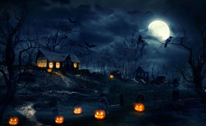 digital drawing of spooky house graveyard in front of it cute halloween wallpaper spooky trees and full moon jack o lanterns