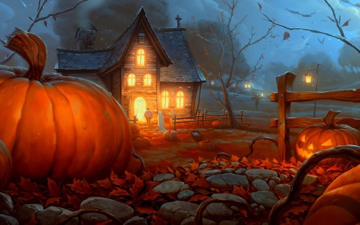 digital drawing of spooky house with a pumpkin patch in front of it halloween background dark sky tall trees