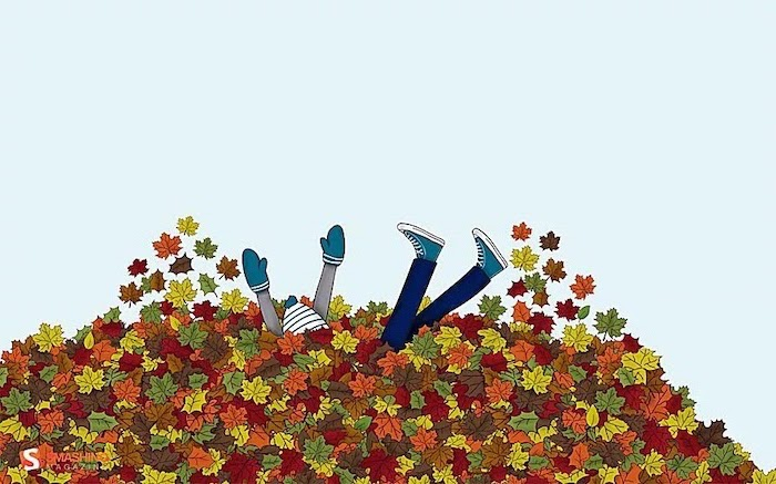drawing of boy wearing hat and gloves jumping into a pile of leaves fall desktop backgrounds orange green red brown yellow leaves