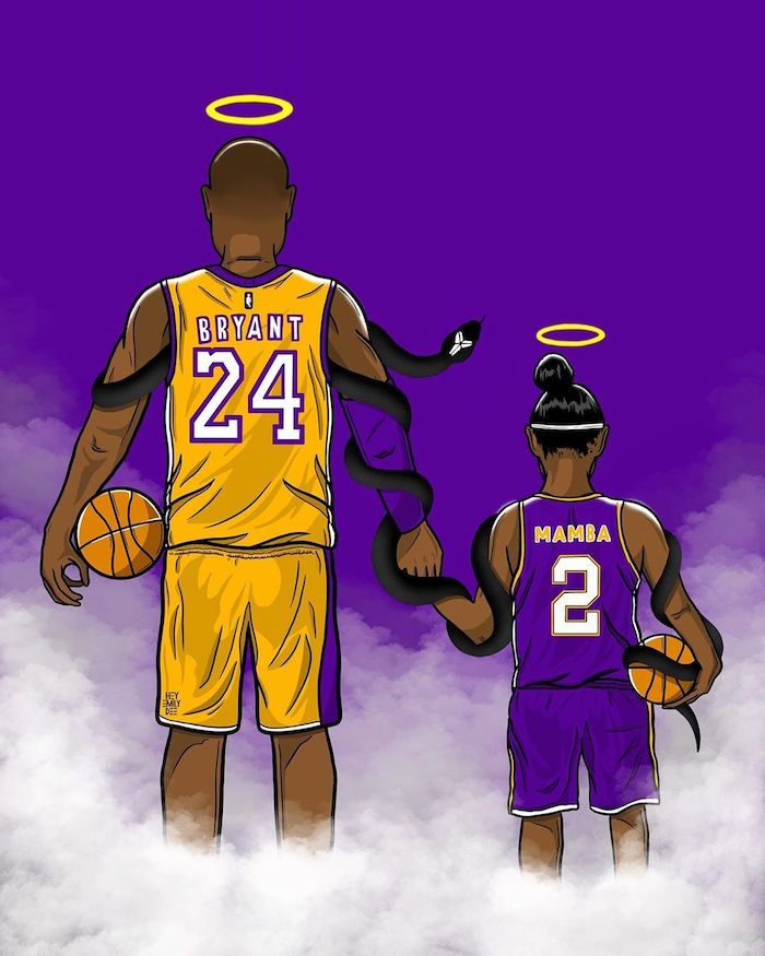 drawing of kobe and gigi bryant holding hands basketballs wrapped together by black mamba kobe and gigi wallpaper halos above their heads