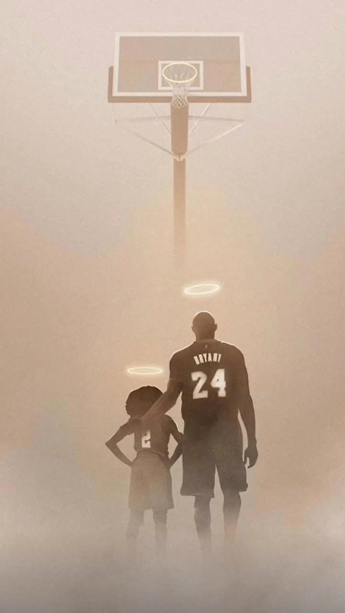 drawing of kobe and gigi bryant wearing number two and number twenty four jerseys standing under a basketball hoop nba wallpaper halos above their heads