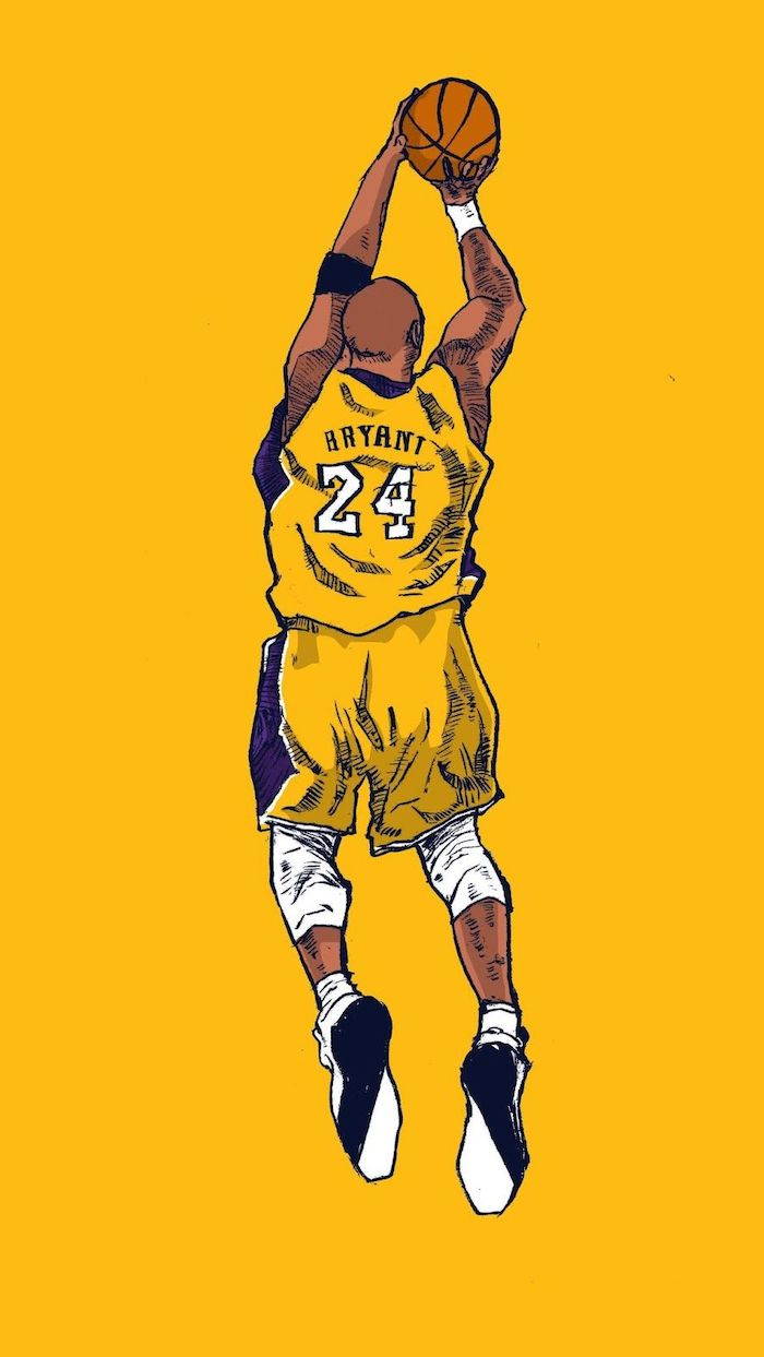 drawing of kobe in the air shooting the basketball wearing lakers jersey in purple and gold nba wallpaper yellow background